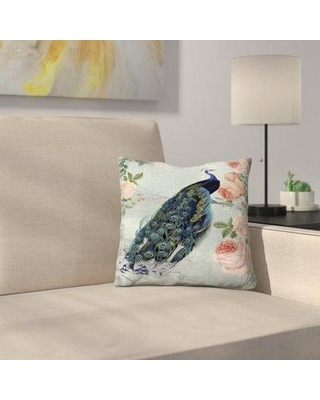 """East Urban Home Vintage Rose Flowers and Peacock High Throw Pillow ERNI2002 Size: 16"""" x 16"""""""