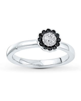 Jared Stackable Ring Black & White Diamonds Sterling Silver
