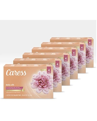 Caress Beauty Bar Soap For Silky, Soft Skin Daily Silk With Silk Extract and Floral Oil Essence 4 Bars Pack of 6 Peach (Pack of 24)