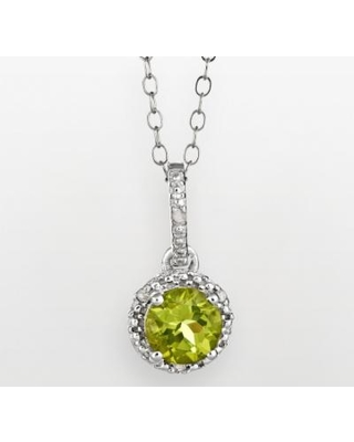 """""""Sterling Silver Peridot and Diamond Accent Frame Pendant, Women's, Size: 18"""", Green"""""""