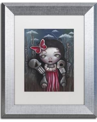 "Trademark Art Bones and Butterflies' Framed Painting Print on Canvas ALI2026-S1 Size: 14"" H x 11"" W x 0.5"" D Matte Color: White"