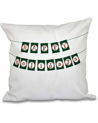 """Simply Daisy 16"""" x 16"""" Happy Holidays Banner Word Print Pillow"""