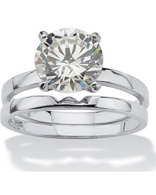 Platinum over Sterling Silver Cubic Zirconia Bridal Ring Set - White (5)