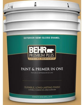 BEHR PREMIUM PLUS 5 gal. #330D-5 Campground Semi-Gloss Enamel Exterior Paint and Primer in One