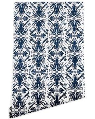 "East Urban Home Heather Dutton Mythos Oceanic Matte Peel and Stick Wallpaper Panel FUSC3424 Size: 4' L x 24"" W"