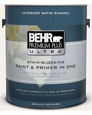 BEHR ULTRA 1 gal. #PWN-50 Snowy Egret Satin Enamel Interior Paint and Primer in One