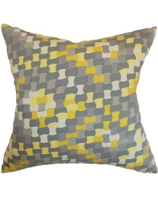 """Corrigan Studio Clarence Geometric Cotton Throw Pillow Cover DTUE6391 Size: 20"""" x 20"""" Color: Canary"""