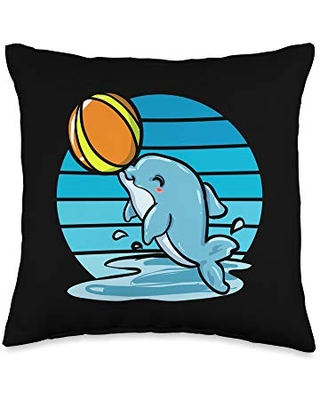 Dolphin Lover Conservationist Clothing Gift Cute Dolphin Cetacean Lover Marine Conservationist Gift Throw Pillow, 16x16, Multicolor