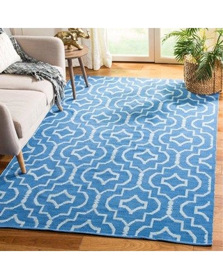 Wrought Studio Rennie Hand-Woven Cotton Blue/Ivory Area Rug VKGL8201 Rug Size: Rectangle 5' x 8'