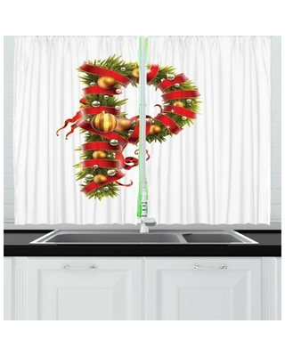 2 Piece Christmas Alphabet Image of Highly Realistic Tree Branches as P Letter Art Kitchen Curtain Set East Urban Home
