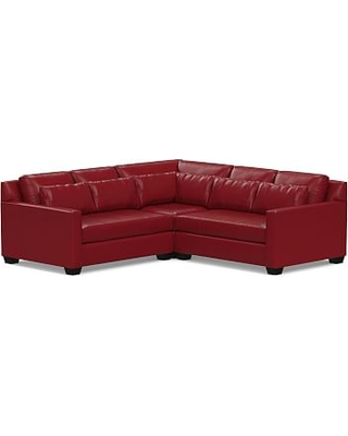 York Square Arm Leather Deep Seat 3-Piece L-Shaped Corner Sectional, Down Blend Wrapped Cushions, Leather Signature Berry Red