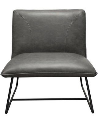 Jordan Collection JORDAN-CH-WG Accent Chair with Leatherette Upholstery Stitching Detail Black Metal Base and Contemporary Style in Weathered