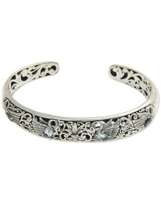 Artisan Crafted Blue Topaz Sterling Silver Swan Floral Cuff Bracelet