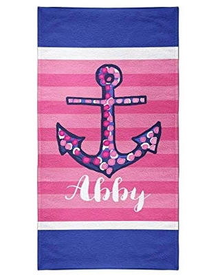 Navy Anchors Vacation Beach Towels Custom Personalized