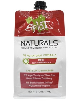 Splat Naturals 30 Wash Red Hair Color, Semi-Permanent Red Dye, 6 Oz