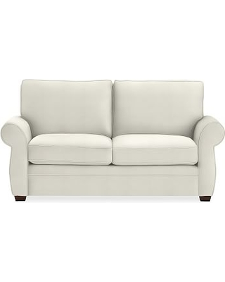 "Pearce Roll Arm Upholstered Loveseat 73"", Down Blend Wrapped Cushions, Basketweave Slub Ivory"