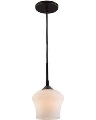 "Woodbridge Lighting Belmont 1-Light Single Bell Pendant Finish: Bronze, Glass in Bronze/Satin Nickel/Nickel, Size Mini (Less than 6"" wide) 