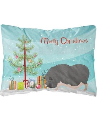 The Holiday Aisle Maiden Vietnamese Pot-Bellied Pig Christmas Indoor/Outdoor Throw Pillow BI148653