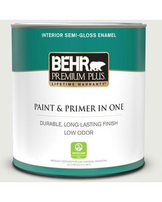 BEHR PREMIUM PLUS 1 qt. #GR-W07 Angel Feather Semi-Gloss Enamel Low Odor Interior Paint and Primer in One