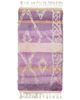 """One of a Kind Hand-Knotted Shag 3' x 5' Geometric Wool Pink Rug - 2'9""""x5'1"""" (Pink - 2'9""""x5'1"""")"""