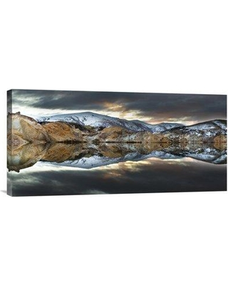 """East Urban Home 'Reflections of Cliffs on Blue Lake St. Bathans Central Otago New Zealand' Photographic Print EAAC8486 Size: 12"""" H x 24"""" W Format: Wrapped Canvas"""