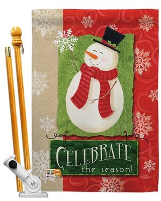 Deals For Celebrate The Season Snowman Impressions Decorative 2 Sided Polyester 40 X 28 In Flag Set Breeze Decor