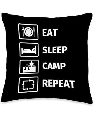 Camping Lover Gifts EAT SLEEP CAMP REPEAT Throw Pillow, 16x16, Multicolor