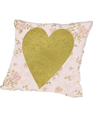 East Urban Home Gold Heart on Pink Throw Pillow ESRB6760