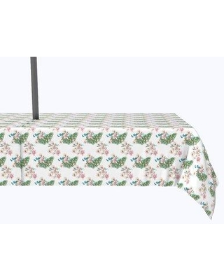 """Bloomsbury Market Vivo Watercolor Peacocks and Flowers Tablecloth X113021026 Size: 84"""" x 60"""""""