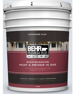 BEHR Premium Plus Ultra 5 gal. #ppl-70 Eastern Breeze Flat Exterior Paint and Primer in One