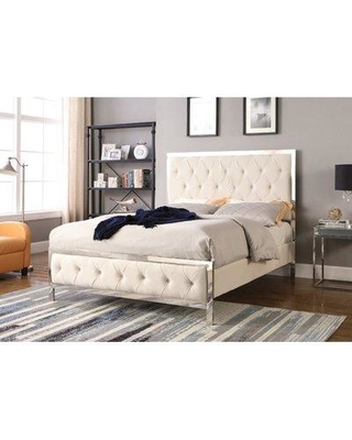 Everly Quinn Oldbury Upholstered Panel Bed W000878698 Color: Beige Size: King