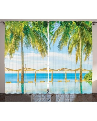 "Landscape Room Darkening Rod Pocket Curtain Panels East Urban Home Size per Panel: 54"" x 84"""