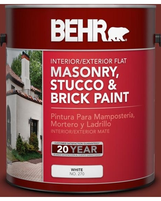 BEHR 1 gal. #BXC-76 Florence Red Flat Interior/Exterior Masonry, Stucco and Brick Paint