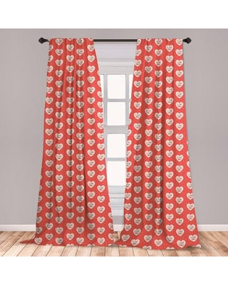Ambesonne Love Curtains, Hipster Hearts Pattern With Love You Texts Heart Shapes Valentines Day Theme, Window Treatments 2 Panel Set For Living Room B