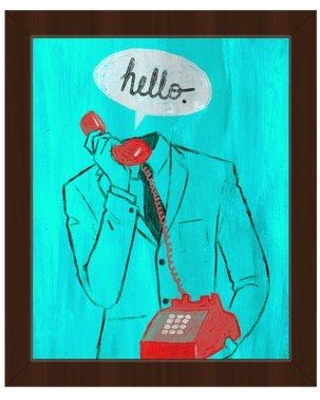 "Click Wall Art 'Hello Red Telephone on Cyan' Framed Painting Print on Canvas COM0000056FRA08x10SBK Size: 18.5"" H x 22.5"" W Format: Espresso Framed"
