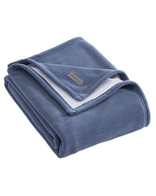 Eddie Bauer Ultra-Plush Collection Throw Blanket-Reversible Sherpa Fleece Cover, Soft & Cozy, Perfect for Bed or Couch, Blue/Light Grey