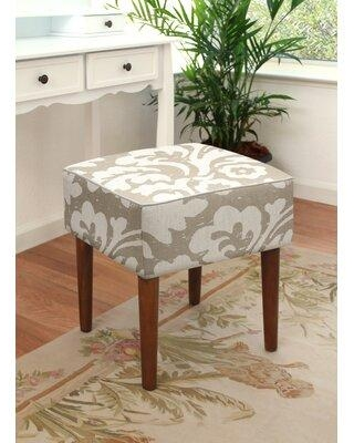 Highland Dunes Tolman Jacobean Floral Upholstered Vanity Stool CS077MSNY Color: Taupe