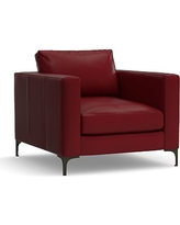 Jake Leather Armchair, Polyester Wrapped Cushions, Leather Signature Berry Red