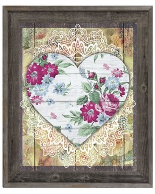 """Floral Heart Framed Graphic Art on Canvas Click Wall Art Size: 17.5"""" H x 14.5"""" W x 1"""" D"""