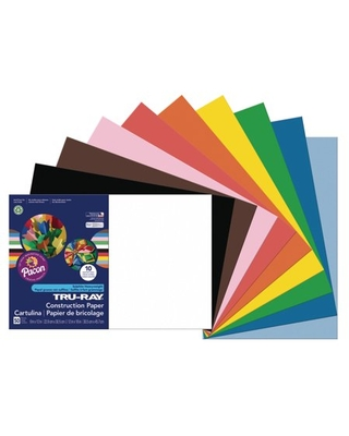 "Pacon Tru-Ray Construction Paper, 50 Sheets, 12"", x 18"", Assorted Colors"