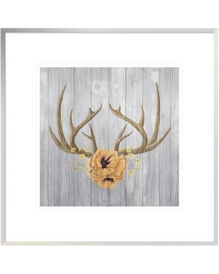 "East Urban Home 'Antlers and Poppies II Square Spice' Graphic Art Print on Canvas ETUM7241 Size: 12"" H x 12"" W Matte Color: White Format: White Framed Canvas"
