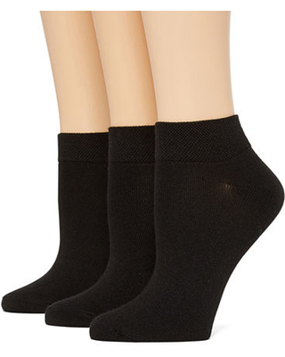Mixit 3 Pair Low Cut Socks Womens, 4-10 , Black
