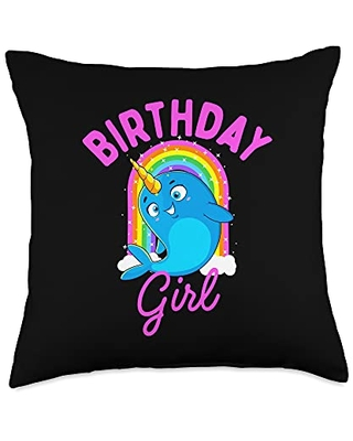 Unicorn Squad Goals Gift Store Narwhal Birthday Gift Women Girls Throw Pillow, 18x18, Multicolor
