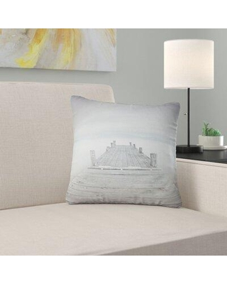 "East Urban Home Seascape Wooden Pier in Cloudy Mood Pillow FUVD6540 Size: 16"" x 16"" Product Type: Throw Pillow"