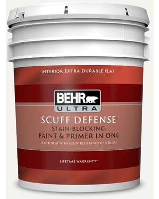 BEHR ULTRA SCUFF DEFENSE 5 gal. #75 Polar Bear Extra-Durable Flat Interior Paint and Primer in One