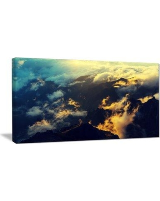 """Design Art Sunset on Hill above Clouds Photographic Print on Wrapped Canvas PT10925- Size: 16"""" H x 32"""" W x 1"""" D"""