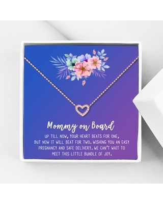 Mommy to Be Mother's Day Gift, Jewelry for Sister, New Mom Mother's Day Gift, Gift for Her, Necklace and Card Gift for Mom, Mommy to be Necklace and Card [Rose Gold Heart,Blue-Purple Gradient]