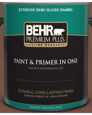 BEHR Premium Plus 1 gal. #S190-7 Toasted Pecan Semi-Gloss Enamel Exterior Paint and Primer in One