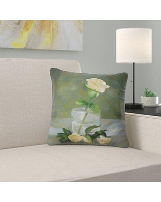 """East Urban Home Floral Rose Flower in Glass Watercolor Pillow FUSI5073 Size: 18"""" x 18"""" Product Type: Throw Pillow"""