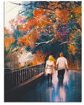 Don T Miss Deals On Couple Walking Holding Hands Landscape Painting Print On Wrapped Canvas Design Art Size 32 H X 16 W